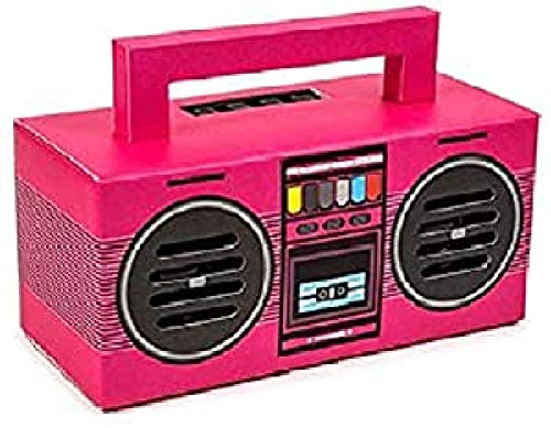 Kooltech 015733 Altavoz Bluetooth, Diseño Radio Casette, Rosa, SPRC