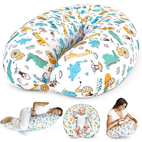 Bamibi ® Stillkissen Seitenschläferkissen Schwangerschaftskissen zum Schlafen Lagerungskissen mit Bezug aus 100% Baumwolle (Tiere)