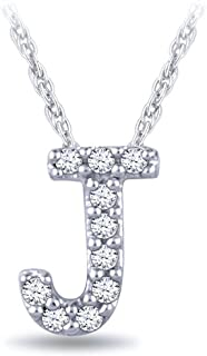 0.05 cttw Diamond Initial Pendant Necklace In 925 Sterling Silver 18