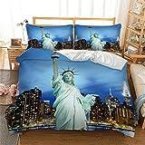 BBUY Juego de cama con funda de edredón de 135 x 200 cm y funda de almohada, Nueva York, 220 x 240 cm