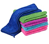 Zeltauto Set of 5 Kitchen Hand Towel 12 x 16 Inch Dish Cleaning Cloth with Hanging Loop, Super Water Absorption Double Deck Coral Fleece Random Color