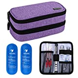 Yarwo Insulin Cooler Travel Case, Double-Layer Diabetic Travel Case with 2 Ice Packs, Diabetic Supplies Organizer for Insulin Pens, Blood Glucose Monitors or Other Diabetes Care Accessories, Purple