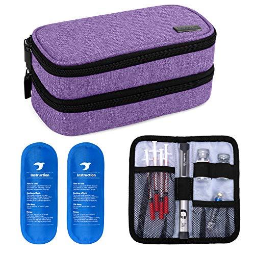 Yarwo Kühltasche für Insulin, Diabetes Zubehör Tasche, Diabetikertasche für Diabetes Spritzen, Insulininjektion Aufbewahrungstasche mit 2 Kühlakkus, Mittel, Lila