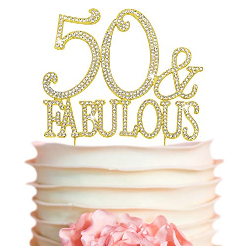 50 Cake Topper - Premium Gold Metal - 50 and Fabulous - 50th Birthday Party Sparkly Rhinestone Decoration Makes a Great Centerpiece - Now Protected in a Box