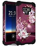 Hocase Galaxy Note 9 Case, Heavy Duty Shockproof Protection Hard Plastic+Silicone Rubber Bumper Hybrid Protective Phone Case for Samsung Galaxy Note 9 (SM-N960U) 2018 - Burgundy Flowers