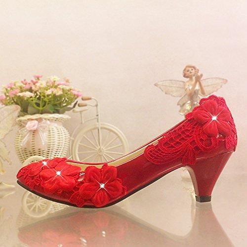 JINGXINSTORE Fleur dentelle rouge chaussures de mariage haut de diahommets robes de demoiselle avec Perforhommece Chaussures Dames