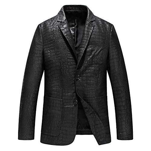 Buy and buy at Brandon Autumn and Winter Leather Leather Clothes - Men's Suit Collar Slim Casual Hooded Sheep Leather Jacket TideblackXXL