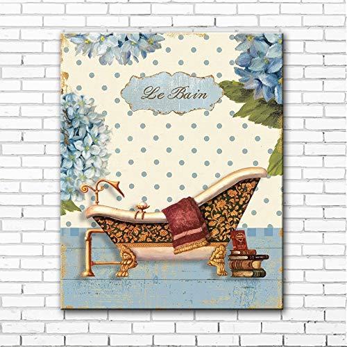 sanzangtang Leinwanddrucke Ländliches Badezimmer modernposter und Dekor für Wohnzimmer50x75cmRahmenlose Malerei