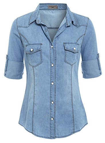 SS7 Damen Jeans-Shirt, Größe 36-42, Denim Hellblau, Indigo Gr. 42, denim-blau