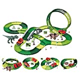 LYXCM Giocattoli per Piste da Corsa Set di trenini, Giocattoli di Dinosauri per Ragazzo 216 Pezzi Set di Piste per Dinosauri Flessibili | Giocattoli per Auto da Corsa per Bambini Regali di Compleanno
