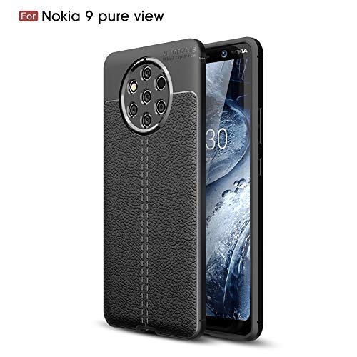 CruzerLite Nokia 9 PureView Custodia, Flexible Slim Case with Leather Texture Grip Pattern And Shock Absorption TPU Cover for Nokia 9 PureView (Black)