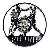 wtnhz LED-Reloj de Pared con Disco de Vinilo de Boxeo, diseño Moderno, Deportes de Lucha, decoración 3D, Reloj de Club de Boxeo, Reloj de Pared, decoración del hogar, Boxeador de Regalo