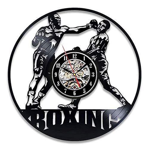 FDGFDG Boxing Vinyl Record Wanduhr Modernes Design Kampfsport 3D Dekoration Boxing Club Uhr Wanduhr Home Decor Geschenk für Boxer