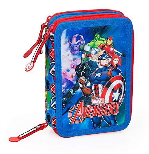 J. M. INÁCIO, LDA. Avengers - Astuccio Scuola 3 Zip Originale Avengers - Completo di 44 Pezzi (Rosso/Azzurro)