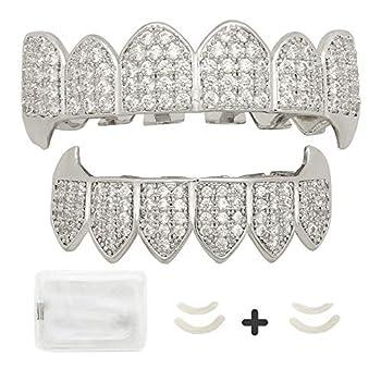 LuReen Diamond Teeth Grillz Gold Vampire Fangs CZ Grillz for Men Women Top Bottom Grillz + 2 Extra Molding Bar