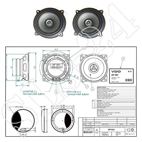 VDO Einbaulautsprecher 100mm 2-Wege Koaxial Lautsprecher 50W Boxen CAR Speaker ohne Gitter 1 Paar (2Stück)