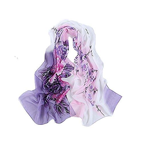 Bluelans Mode Femme doux Écharpe en mousseline écharpes Belle Fleur Écharpe Châle Wraps violet taille unique