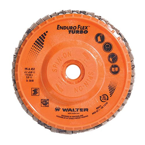 Walter 06A452 Enduro-Flex Turbo Abrasive Flap Disc [Pack of 10] - 36/60 Grit, 5 in. Grinding Disc with Threaded Arbor Hole. Abrasive Grinding Supplies