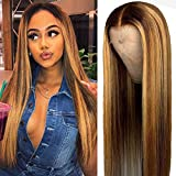 Brennas Hair Ombre Blonde Straight Lace Front Human Hair Wigs with Highlight Pre Plucked 150% Density Malaysian Highlight Wigs with Baby Hair African Wigs Bleached Knots 13x4 Lace Front Wigs 24 Inch