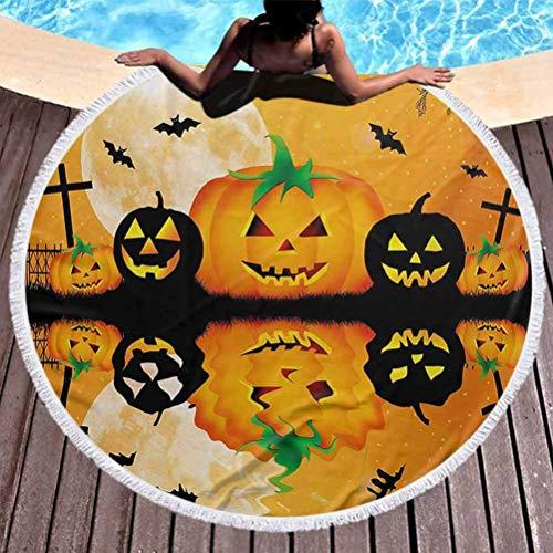 Toalla de playa redonda Manta circular de Halloween Ultra suave Spooky Carved Halloween Jack o Lantern y Luna llena con murciélagos y Grave Lake Uso para niños, mujeres, hombres, niños, niñas, naranja