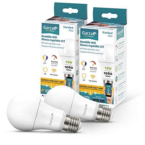 Garza ® Smarthome - Pack 2 Bombilla LED Estandar Intelegente Wifi E27, luz blanca neutra regulable con cambio de intensidad y temperatura. Programable, compatible con Amazon Alexa y Google Home.