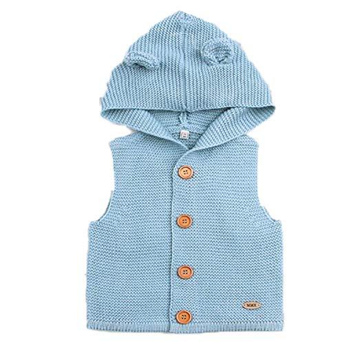 New Baby Sweater Boys Cardigan Autumn Winter Fur Collar Knitted Jacket Coat Toddler Kids Cardigan Light Blue 12M