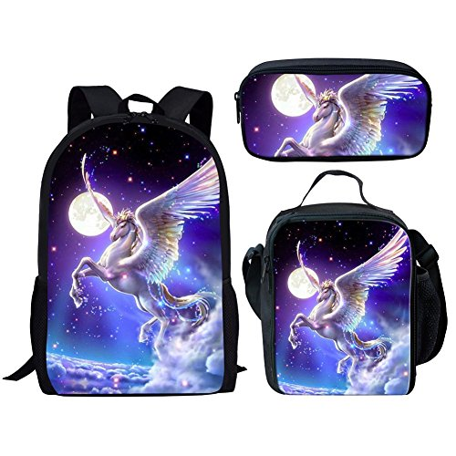Cozeyat Rainbow Horse School Backpack Set 3D Print Bookbag Lunch Bag Pencil Box for Kids