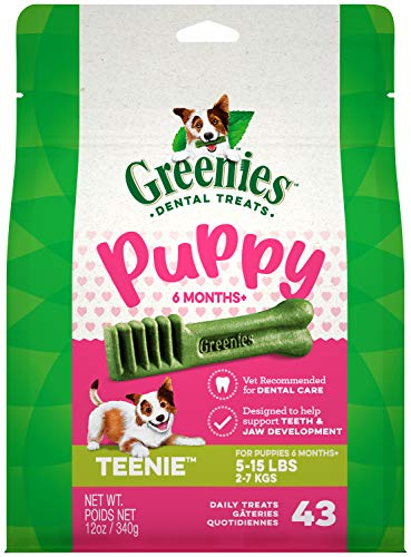 GREENIES Puppy 6+ Months TEENIE Natural Dental Care Chews Oral Health Dog Treats, 12 oz. Pack (43 Treats)