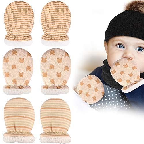 Sporgo Baby Fäustling Handschuhe,3 Paare Neugeboren Warme Handschuhe, Kratzhandschuhe Baumwollhandschuhe, Säugling Fausthandschuhe Herbst Winter Jungen Mädchen Kratzfäustlinge für Baby Care
