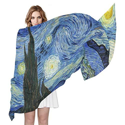 SEULIFE Women's Silk Scarf Van Gogh Starry Night, Fashion Lightweight Large Scarf Sheer Shawl