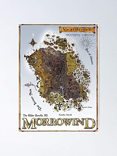 guyfam Morrowind Vvardenfell Map Restoration Project Restored Vin-Tage Print Poster 12x16 Inch No Frame Board for Office Decor, Best Gift Dad Mom Grandmother and Your Friends