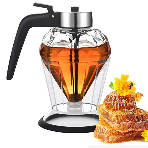 Yelocota Honey Dispenser,8Oz Glass Jar Honey Pot,Premium Durable Glass with Non-Slip Silicone Bottom and Stainless Steel Glass Container for Honey Bee – Elegant Diamond Shape (black)