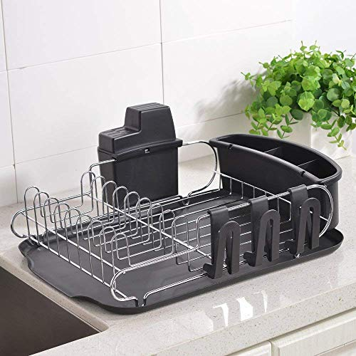 Loclgpm Rust-Proof Kitchen Draining Dish Drying Rack, Dish Rack With Black Drain Board, 3 Independent Cup Holder Accessories, 1 Wide Tableware Rack and Knife Holder Accessory