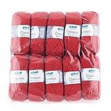 Gründl 3488–10Classico Ventaja, Pack 10(Ovillo de 50g–Hilo para Tejer, 50% Lana Virgen (Merino Superwash), 50% poliacrílico, Rojo, 30x 32x 8cm