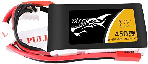 TATTU 11.1V 450mAh 3S LiPo Battery Pack 45C with JST Plug for Small Size FPV E-flite Blade 180 CFX Torrent 110 Baby Hawk Micro 2