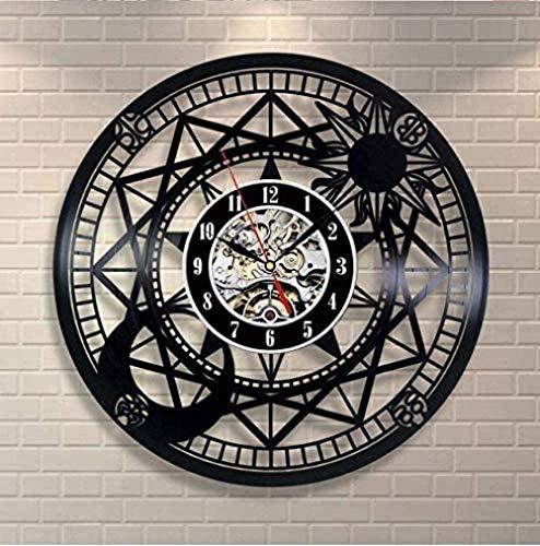 CCGGG Reloj de Pared con Registro de Vinilo, Reloj de Pared con Registro de Vinilo Retro Redondo, Arte astronómico, Regalos de Arte Moderno para siembra para niños y niñas