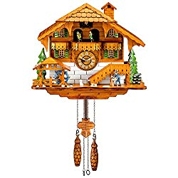 Kintrot Cuckoo Clock Black Forest Quartz Wall Clock Pendulum Movable Bird, Dancers, Watermill, Wood Chopper