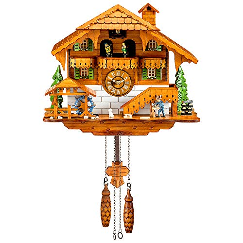 Kintrot Reloj de cuco Bosque negro Reloj de chalet Cuarzo Reloj de pared de madera Péndulo Pájaro móvil, bailarines, molino de agua, picador de madera 12 melodías diferentes