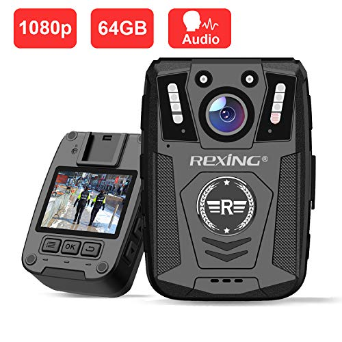 Rexing P1 Body Worn Camera, 2 Display 1080p Full HD, 64G Memory,Record Video, Audio & Pictures,Infrared Night Vision,Police Panic Mode, 3000 mAh Battery,10HR Battery Life,Waterproof,Shockproof