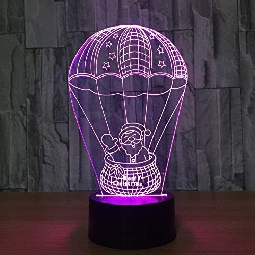 DCLINA Lámpara Escritorio Mesa táctil con luz Nocturna Globo aerostático 3D 7 Colores Luces ilusión óptica 3D con Base acrílica Plana y ABS y Cargador USB para Regalos Navidad