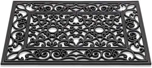 Matches21 - Felpudo de goma para puerta exterior, aspecto de hierro fundido con adornos florales, rectangular, color negro, 40 x 60 cm