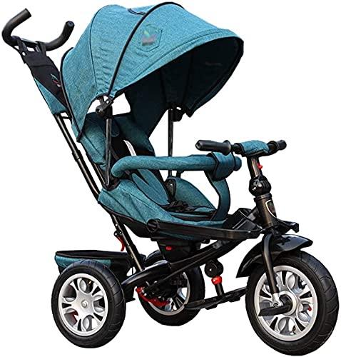 Cochecito 3-en-1 Cochecito de bebé Cochecito de triciclo Bicicleta de acero al carbono Título de niños con embrague y arnés de seguridad Carro de niños carrito de 1 a 5 años