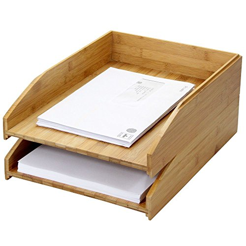 Woodquail, Set di 2 Vassoi Porta-Corrispondenza in bamboo, Verticale Formato A4