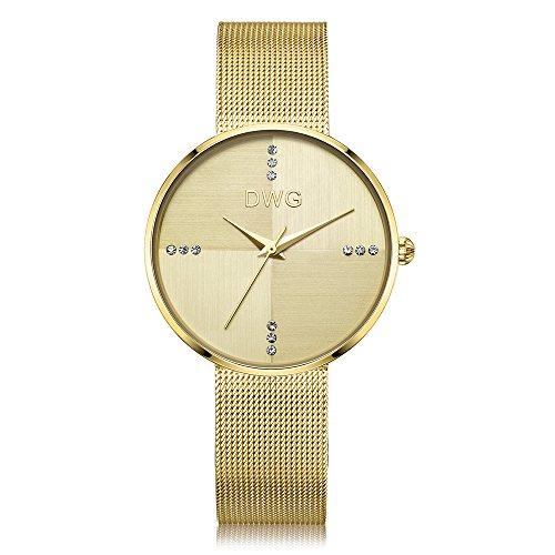 Women Mesh Watch Gold Analog Quartz Movement Simple Design Dress Watch Thin Case Stainless Steel Strap Waterproof Magnetic Ladies Luxury Wrist Watch (Gold)