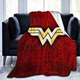 Throw Blanket W-on-der Wo-Man Cozy Flannel Fleece Blanket Suitable All Season for Sofa Living Room 60 × 50 Inches -2