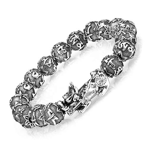 ZenBless Fengshui Prosperity Bracelet 12mm Natural Bead Bracelet Single Silver Pi Xiu/Pi Yao Attract Wealth Health and Good Luck