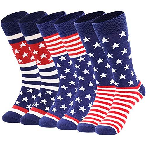 American Flag Socks Men's Fun Dress Socks Patriotic Flag Stars Novelty Cotton Crew Socks (3 Pairs-ABC)