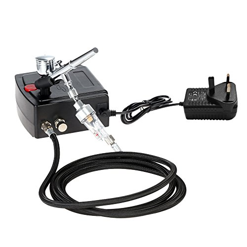 KKmoon Airbrush Gravity Feed Dual Action Air Compressor Kit for Art...