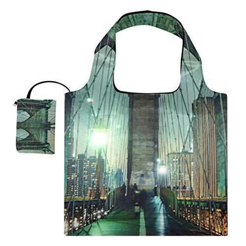 XiangHeFu Bolsos de compras reutilizables de los totalizadores del regalo del supermercado Gran capacidad plegable, puente de Brooklyn del paisaje nocturno