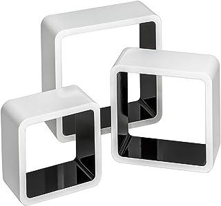 TecTake 800703 Set de 3 Estanterías de Pared, Cubos Estilo